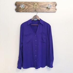 Express Portofino Long Sleeve Sheer Shirt Purple